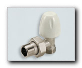 Angled radiator valve for plastic and copper pipes