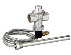 Temperature safety valve for solid fuel boiler