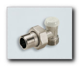 Lockshield angled radiator valve for plastic and copper pipes