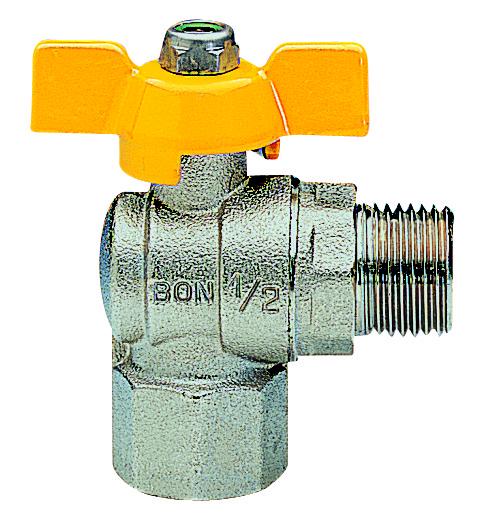 Gas ball valve angled