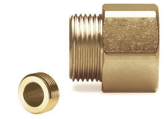 Brass nipples M/M or F/M for tubes in stainelss steel