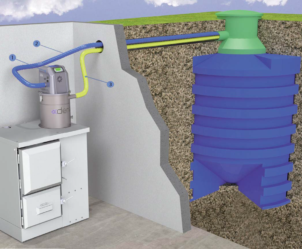 Pneumatic conveying system of wood pellets from underground storage tank