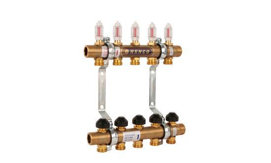 Колектори за подово отопление с вграден дебитомер и регулатор